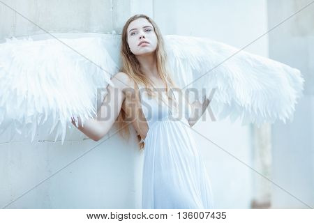 Beautiful girl with white wings standing near a white wall