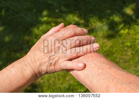 Concept shoot of friendship and love of old man and woman: two hands over green grass