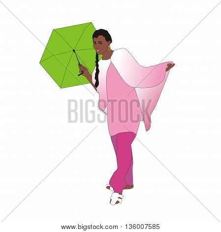 Illustration indian girl wearing clothes in Punjabi style with an umbrella in her hands