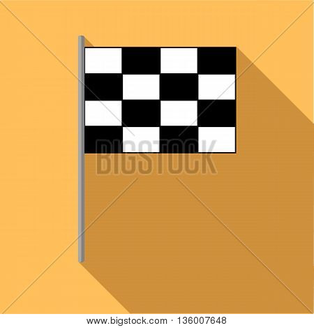 Checkered golf flag icon in flat style on a pale orange background