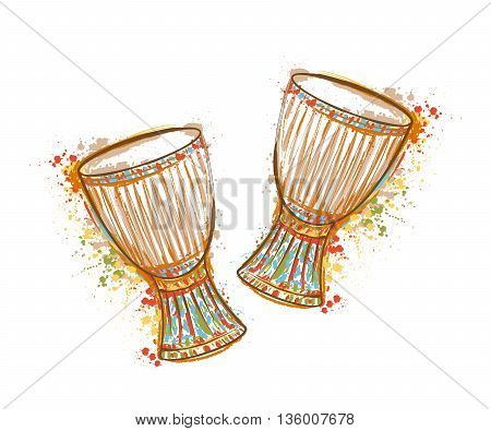 Drums tam tam with splashes in watercolor style. Colorful hand drawn vector illustration