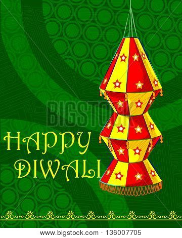 Vector design of decorated hanging lamp for Diwali celebration