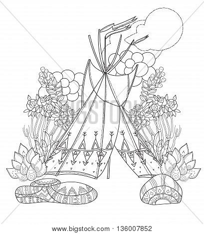 Vector cute fairy wigwam doodle isolated.Vector line illustration.Sketch for postcard, print or coloring anti stress adult book.Boho zen art style.