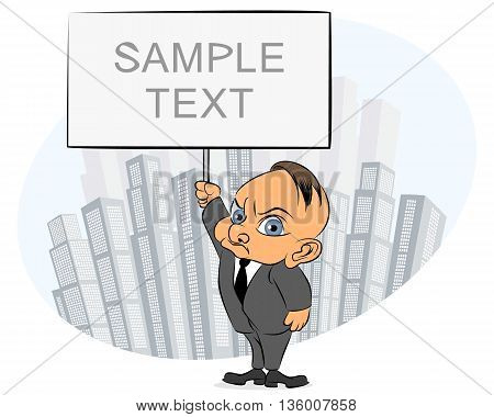 Vector illustration of a businessman with sign