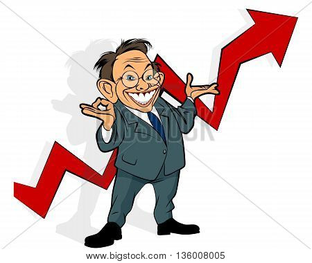 Vector illustration of a businessman showing graph