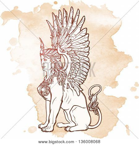 Sitting Sphinx. Ancient Greek mythical creature with beautiful woman torso lion body and eagle wings. Heraldic supporter. Sketch on grunge background. EPS10 vector illustration.