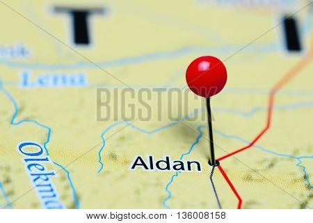 Aldan pinned on a map of Russia