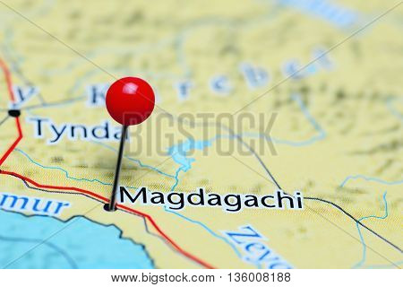 Magdagachi pinned on a map of Russia