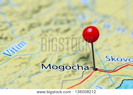 Mogocha pinned on a map of Russia