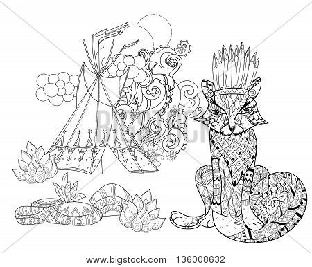 Vector cute fairy wigwam and fox doodle isolated.Vector line illustration.Sketch for postcard, print or coloring anti stress adult book.Boho zen art style.
