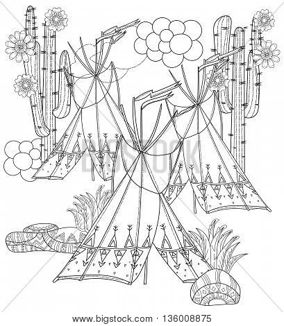 Vector cute fairy wigwam and cactus doodle isolated.Vector line illustration.Sketch for postcard, print or coloring anti stress adult book.Boho zen art style.