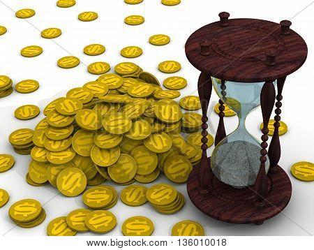 Time is money. Hourglass and a pile of coins with the American dollar symbols lie on a white surface. Financial concept. 3D Illustration. Isolated