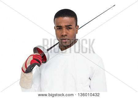 Portrait of swordsman holding sword on white background