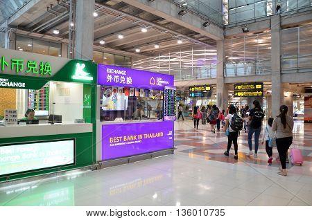 Money Exchange Shop Inside Of Suvarnabhumi Airport, Thailand