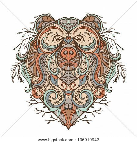 Bear with abstract floral ornament. Tattoo art in boho style. Retro banner, card, scrap booking, t-shirt, bag, postcard, poster. Highly detailed vintage hand drawn vector illustration