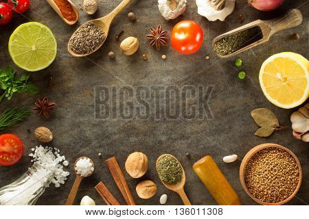 herbs and spices at table background