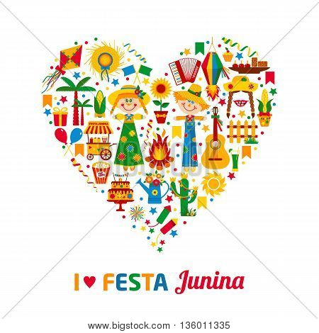 Festa Junina Village Festival In Latin America. Icons Set In Bright Color.