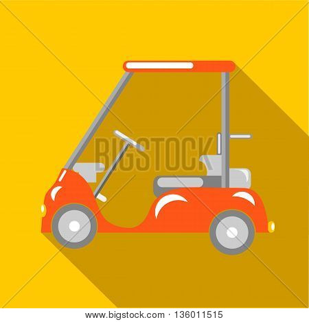 Orange golf car icon in flat style on a yellow background