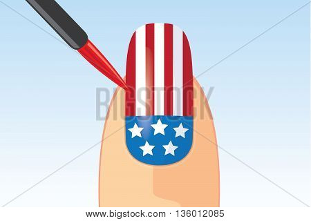 American flag nail painting with brush. Beauty concept about American national