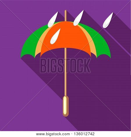 Colorful umbrella and rain drops icon in flat style on a plum background