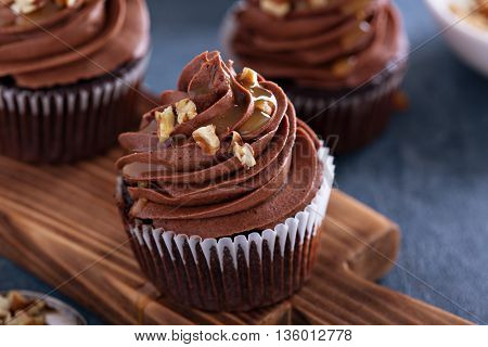Chocolate caramel cupcake with nuts and butterscotch syrup