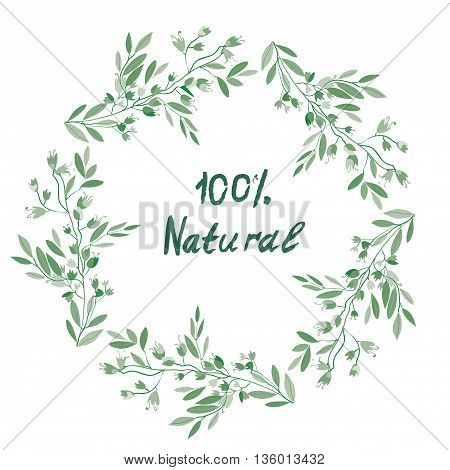 Eco organic floral frame for the label banner or other product. Vector illustration design.