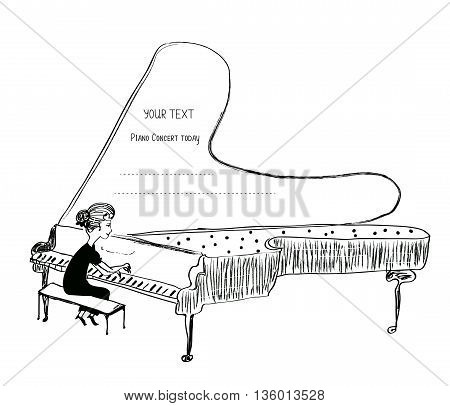 Girl playing piano sketch - background for a musical concert vector illustration