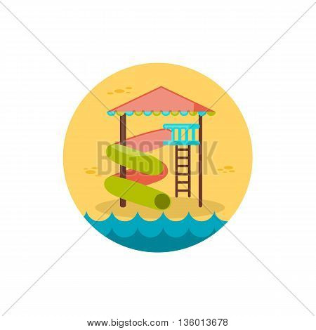 Water Park Summer Vacation. Slide Beach vector icon. Summer. Summertime. Holiday, eps 10