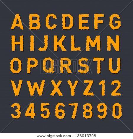 Noise Orange Alphabet with Dark Shadow. Vector illustration