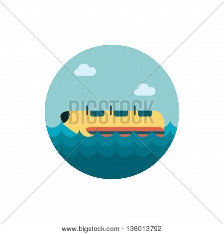 Yellow banana boat vector icon. Beach. Summer. Summertime. Holiday. Vacation, ride, water sport, eps 10