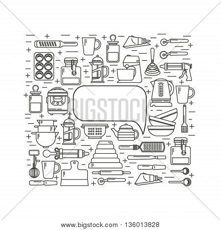 Set of kitchen utensils and items for baking. Cookware. Icons in a linear style. Kitchenware. Modern design. With space for text