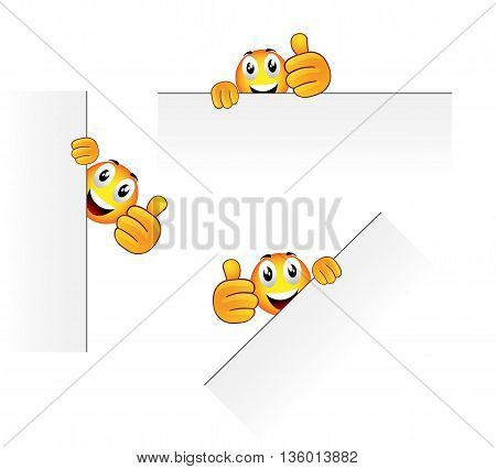 Set of three vector cartoon character for like thumb