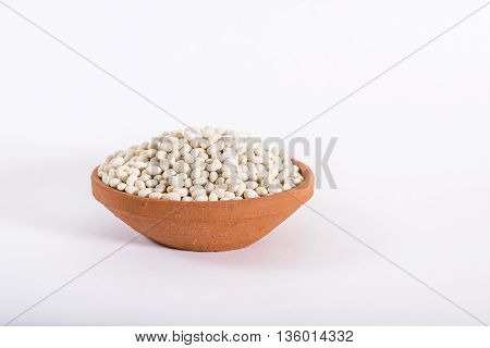 Soy bean in a red clay bowl