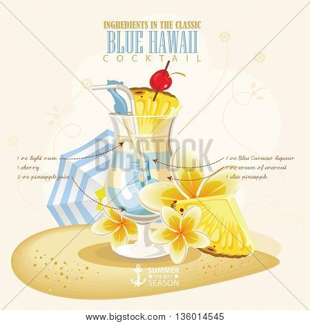 Vector illustration of popular alcoholic cocktail. Blue Hawaii club alcohol shot.