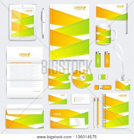 Colorful geometric set of vector corporate identity template. Modern business stationery mock-up. Branding design with green and yellow lines