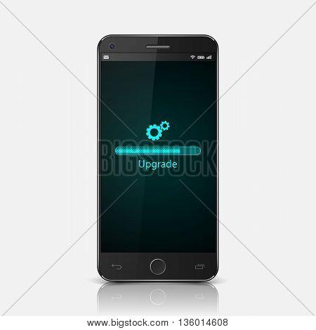 Realistic black Smartphone with upgrade screen, vector