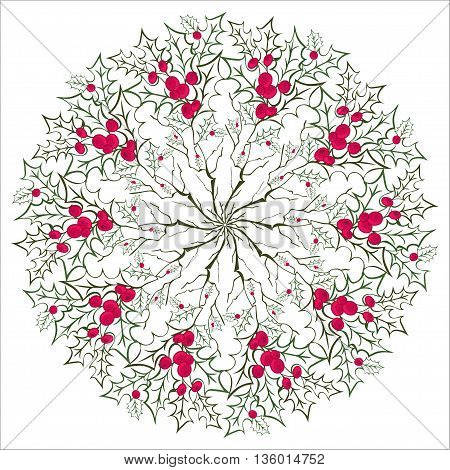 Unique Hand drawing floral holly mandala, zentangle element. Vector illustration. Red and green