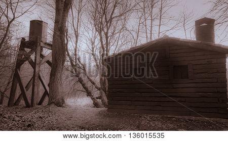 Abandoned cabin with its water tank. Sierra de Guadarrama National Park