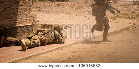 Soldiers In Action In Conflict Zone V