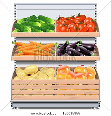 Vector Supermarket Shelf with Vegetables isolated on white background