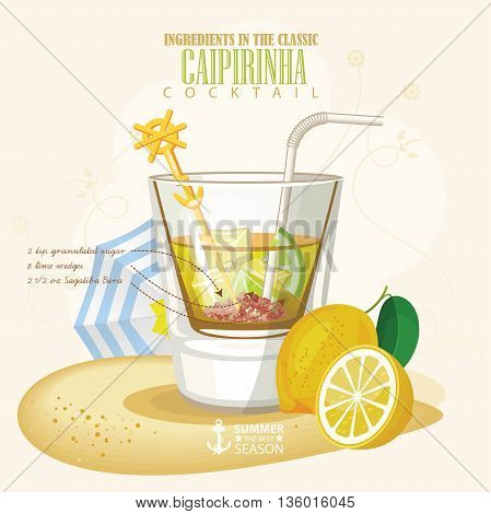 Vector illustration of popular alcoholic cocktail. Caipirinha club alcohol shot.