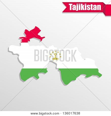 Tajikistan map with flag inside and ribbon