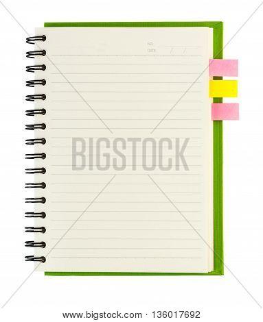 Blank Spiral Notebook Open On White