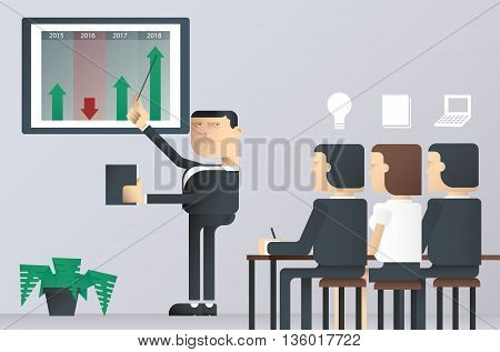 easy to edit vector illustration of business presentation class, businessman pointing at a board at a presentation, Vector business man presentation on work project, businessman in conference