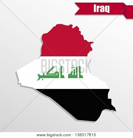 Iraq map with flag inside and ribbon