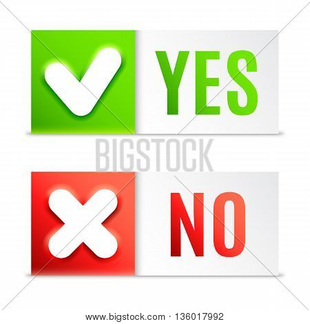 Yes and No buttons with check symbols