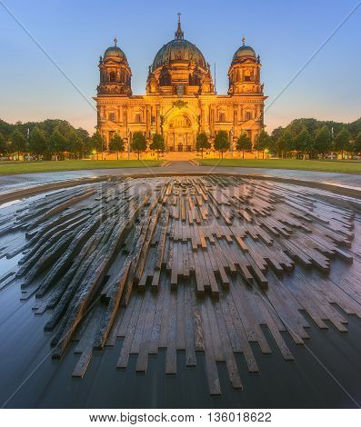 Berlin Cathedral, or Berliner Dom and Fountain in the Lustgarten park, Germany