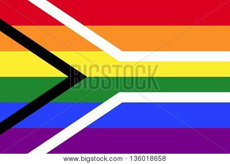 Gay pride flag of South Africa. Hybrid of LGBT rainbow flag and South African national flag. Gay pride symbol, aims to reflect freedom and diversity and build pride in being an LGBT South African.