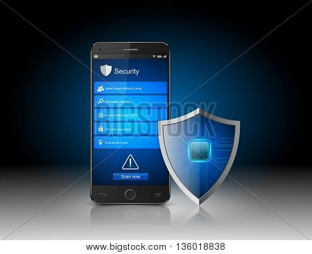 Smartphone protection concept, Smartphone with shield. vector