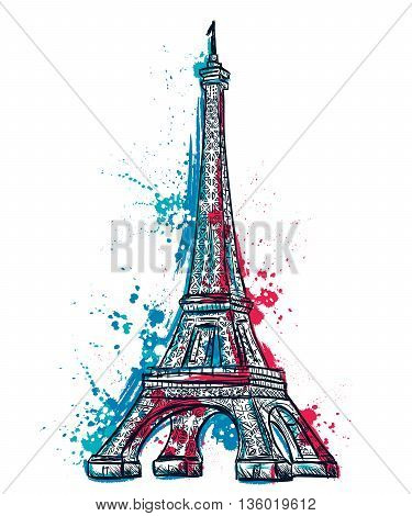 Eiffel Tower with abstract splashes in watercolor style. Colorful hand drawn vector illustration